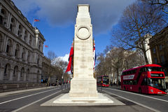 The Cenotaph down Whitehall in London. The Cenotaph War Memorial in Whitehall, London Royalty Free Stock Image