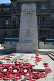 Cenotaph in George Square, Glasgow, Scotland, with poppy wreaths Stock Photo