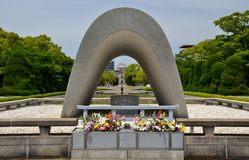 The Cenotaph at the Hiroshima Peace Memorial Park Royalty Free Stock Photography