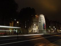 Cenotaph with Light Trails. A slow shutter speed shot to highlight the detail of the Cenotaph in all it`s glory Royalty Free Stock Images