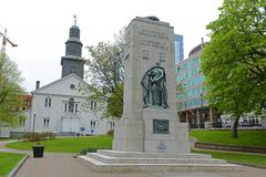 Cenotaph and Church, Halifax, Nova Scotia, Canada. Cenotaph and St Paul`s Anglican Church on Grand Parade Square in downtown Halifax, Nova Scotia, Canada royalty free stock image