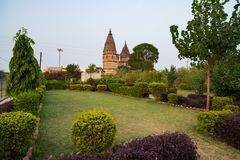 Cenotaphs at Orchha, Madhya Pradesh. Also spelled Orcha, famous travel destination in India. Moghul gardens, blue sky. Cenotaphs at Orchha, Madhya Pradesh. Also Royalty Free Stock Images