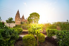 Cenotaphs at Orchha, Madhya Pradesh. Also spelled Orcha, famous travel destination in India. Moghul gardens, blue sky. Cenotaphs at Orchha, Madhya Pradesh. Also Royalty Free Stock Photography