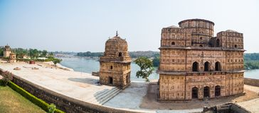 Cenotaphs at Orchha, Madhya Pradesh. Also spelled Orcha, famous travel destination in India. Moghul gardens, blue sky. Cenotaphs at Orchha, Madhya Pradesh. Also Royalty Free Stock Image