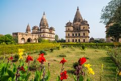Cenotaphs at Orchha, Madhya Pradesh. Also spelled Orcha, famous travel destination in India. Moghul gardens, blue sky. Cenotaphs at Orchha, Madhya Pradesh. Also Stock Photos