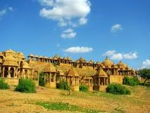 Cenotaphs reali di Bada Bagh in Jaisalmer, India immagine stock