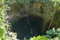 Cenote de Ik-kil na península do Iucatão, México Imagem de Stock Royalty Free
