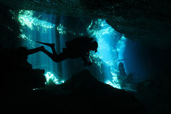 Cenote Diving. Diver in Chac-Mool Cenote, Playa del Carmen, Mexico Royalty Free Stock Image