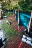 Cenote Dos Ojos Tulum Meksyk schody jamy pikowania Drewnianych butelek Podziemna jama zdjęcia royalty free