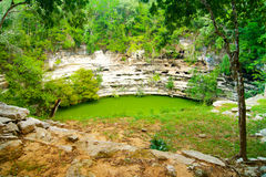 Cenote flooded cave in Mexico Yucatan Royalty Free Stock Photo