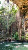 Cenote Ik Kil blisko Chichen Itza, Meksyk Fotografia Stock