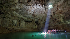 Cenote Suy Tun , Yucatan , Mexico. Suy Tun, one of the countless cenotes on Yucatan peninsula. Cenotes ( sinkholes ) are natural pools created by collapse of stock photography
