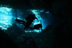Cenote Tauchen Stockfoto