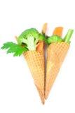 Cenoura, aipo, brócolos em um cone do waffle Fotografia de Stock Royalty Free