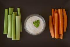 Cenoura, aipo e molho Foto de Stock Royalty Free