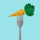 Cenoura alaranjada na forquilha Fotografia de Stock Royalty Free