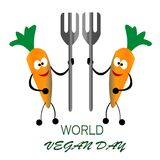 A cenoura da celebração dois do dia do vegetariano do mundo traz o conceito da forquilha ilustração stock