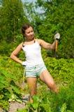 Cenoura da terra arrendada da mulher Imagem de Stock Royalty Free