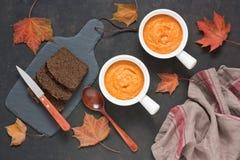 Cenoura do abobrinha da polpa ou puré da pasta da abóbora foto de stock