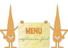 Cenoura dois alaranjada de sorriso que guarda uma placa, menu da inscrição, alimento do vegetariano, braços, pés, olhos verdes, f Fotos de Stock Royalty Free