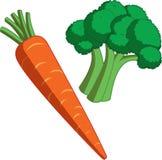 Cenoura e bróculos Imagens de Stock