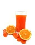 Cenoura e sumo de laranja Foto de Stock Royalty Free