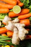 Cenouras, aipo, gengibre e limão Imagens de Stock Royalty Free