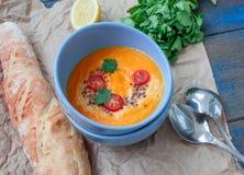 Cenouras alaranjadas da sopa vegetal do vegetariano, batatas doces, abóbora imagens de stock