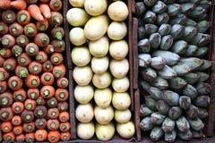 Cenouras, bananas verdes e beringelas brancas Imagem de Stock