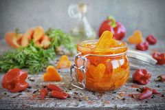 Cenouras conservadas caseiros com alho e pimentão nos frascos de vidro imagem de stock royalty free