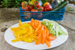 Cenouras cortadas aipo e pimentas em uma placa Imagem de Stock Royalty Free