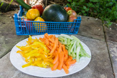 Cenouras cortadas aipo e pimentas em uma placa Imagem de Stock
