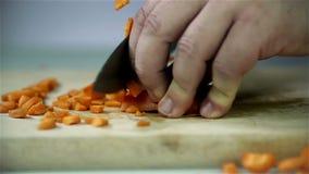 Cenouras do corte na mesa de madeira vídeos de arquivo