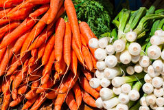Cenouras e cebolas frescas. Imagens de Stock Royalty Free