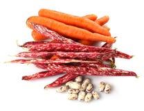Cenouras e feijões Imagem de Stock Royalty Free