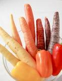 Cenouras e inclinação da pimenta Imagem de Stock