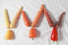 Cenouras e inclinação da pimenta Fotografia de Stock