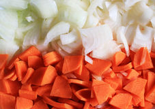 Cenouras e onins rosqueados Fotos de Stock