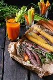 Cenouras e suco coloridos Imagens de Stock