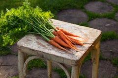 Cenouras orgânicas frescas com as folhas verdes no fundo de madeira Fotografia de Stock Royalty Free