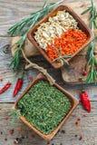 Cenouras secadas, raiz de aipo e cebolas verdes Imagem de Stock Royalty Free