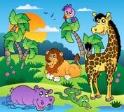 Cenário africano com animais 1 Imagens de Stock