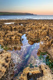 Cenário de Oceano Atlântico no nascer do sol em Ireland Fotos de Stock Royalty Free