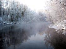 Cenário invernal do rio Imagens de Stock