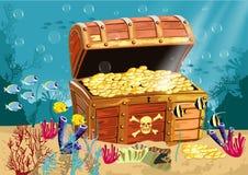Cenário subaquático com uma arca do tesouro Fotos de Stock Royalty Free
