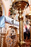 Church incense. Censer hung in the church. Incense during Mass at the altar royalty free stock photos