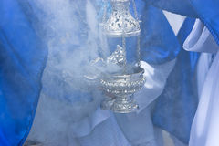 Censer of silver or alpaca to burn incense Royalty Free Stock Image