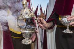 Censer of silver or alpaca to burn incense in the holy week, Spa Royalty Free Stock Photos