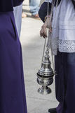 Censer of silver or alpaca to burn incense in the holy week Royalty Free Stock Images
