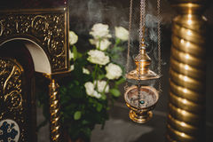 Censer with smoke in church Royalty Free Stock Image
